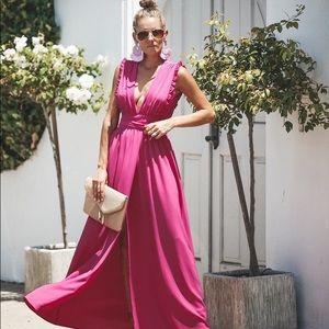 VICI By Your Side Ruffle Maxi Dress in Fuchsia